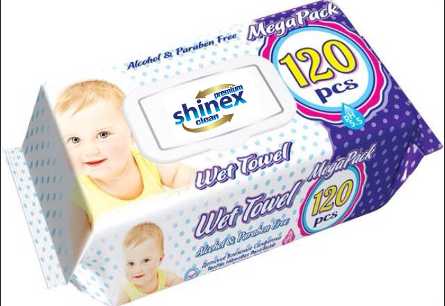 Baby Wet Wipes with lid 120 Pcs