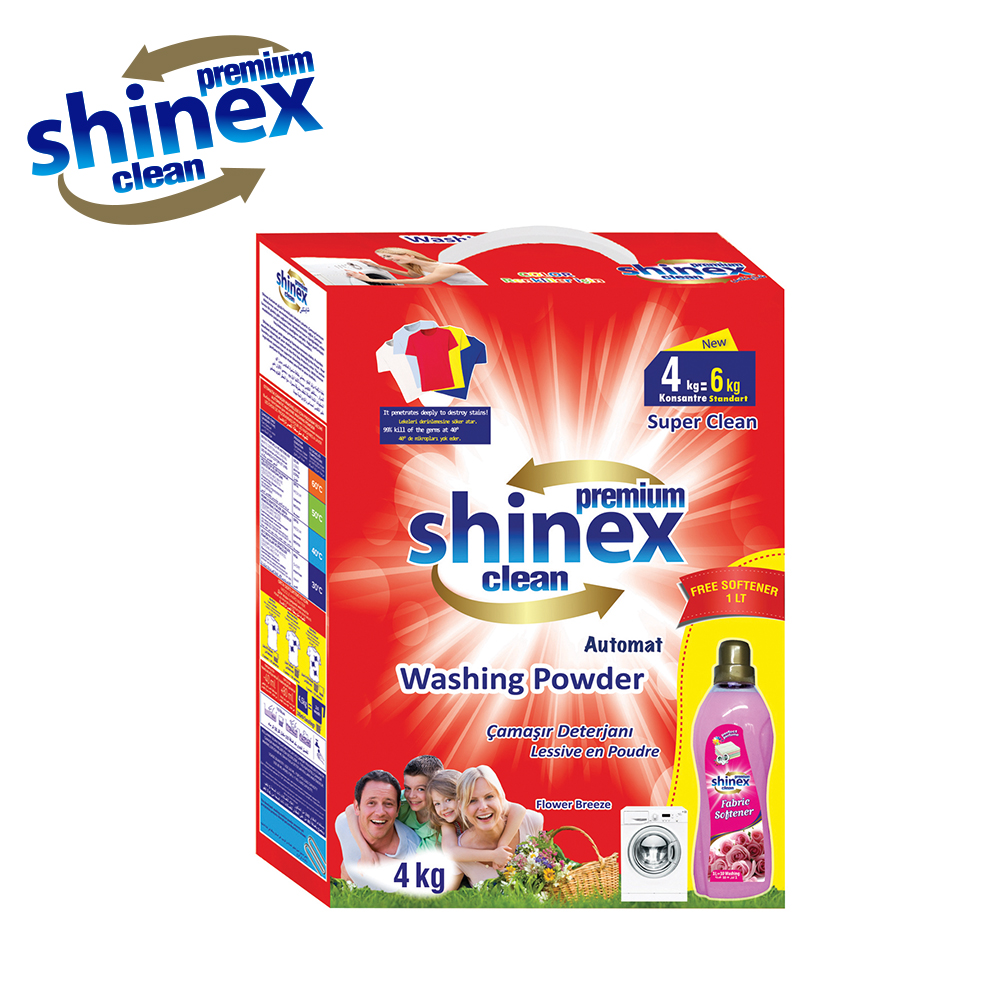 Shinex Matic - Automat Powder Detergent 4 Kg + 1 Kg Softener Free - Box